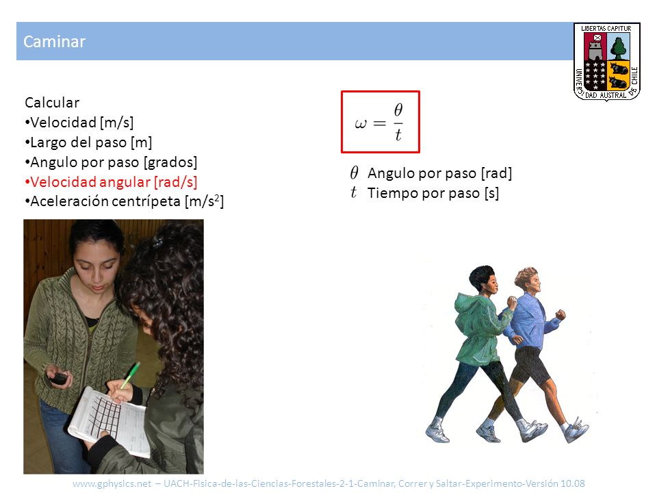 Caminar Calcular Velocidad [m/s] Largo del paso [m]